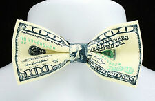 $100 Bill Money Bow Tie Mens Adjustable Tuxedo Funny Wedding Necktie Gift New