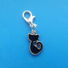1 x Black Cat Enamel Gold Plated Clip On Charm Pendant Halloween
