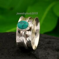 Turquoise Ring Solid 925 Sterling Silver Spinner Ring Women Ring Handmade Ring