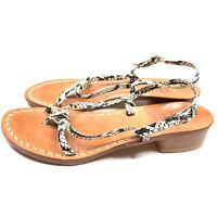 Artigianato Rallo Sandals Reptile Leather Sandals Womens Size 8 EU38 Slingback