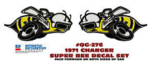 GE-QG-276 1971 DODGE CHARGER SUPER BEE - QUARTER PANEL BEE DECAL -TWO DECALS