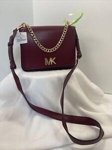 Michael Kors Bag Mott Shoulder Crossbody Large Chain Swag Maroon Leather B2S