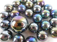 25 Glass Marbles METEOR Metallic Iridescent Silver/Gold/Purple game pack Shooter