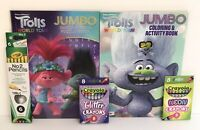 5pc Trolls World Tour Gift Set Jumbo Coloring & Word Search Books Crayons Pencil