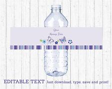 Lavender Butterfly Garden Water Bottle Labels Printable Editable PDF