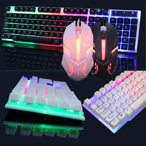 Wired Keyboard and Mouse Set PC Laptop Gaming Rainbow Backlit Mechani