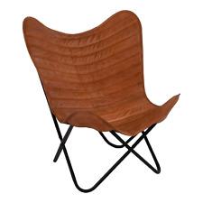 Farfalla sedia sedia BUTTERFLY Chair Marrone 75x75x87 cm in pelle