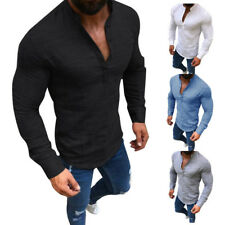 AU Mens Long Sleeve Linen Shirt Casual Shirt Breathable Soft V-Neck Tops