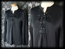 Gothic Black Satin Lace Up POETIC Smock Blouse 10 12 Victorian Vintage Medieval
