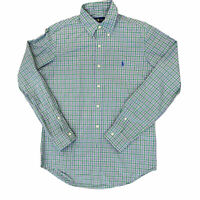 Polo Ralph Lauren Long Sleeve Button Down Shirt Small Green And Pink Plaid