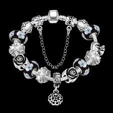 Sterling Silver European Beads Flower Black Lucky Charm Bracelet L28