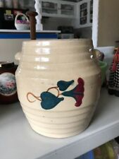 """Red Wing tan morning glory stoneware cookie jar 10"""" ~ 1920's-1950's rare No Lid"""