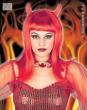 Lunga Parrucca Rosso Con Corna Diavolo VAMPIRESS HALLOWEEN FANCY DRESS