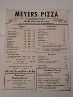Vintage 1975 - MEYERS PIZZA Restaurant Menue FORT LAUDERDALE FLORIDA