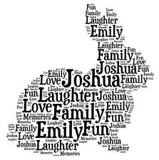 Personalised Bunny Rabbit Word Art Print Great Gift Daughter Son New Baby