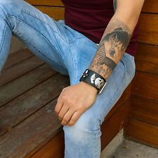 Mens Black Leather Band Punk Skull and Revolver Gothic Biker Bracelet Wristband
