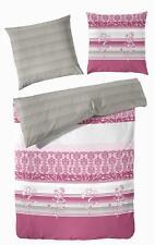 2-tlg Bettwäsche Mako Satin Ornamente pink weiß Baumwolle 155x220 Landhaus
