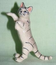 Klima Miniature Porcelain Animal Figure Silver Tabby Cat on Hind Legs K034