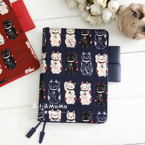 A5 A6 Fortune Cat Creative Lovely Journal Cover Cloth and PU Hobonichi Style