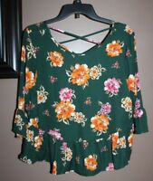 One Clothing L Green Orange Floral Print Bell Ruffle Sleeve Peplum Blouse/Top