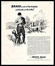 1946 English Setter & Hunter Shotgun Hunting Art Illustration Bristol Brass Ad