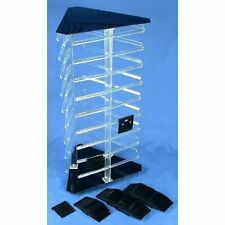 """3 Sided Rotating Revolving Jewelry Display Stand with 100 2"""" Black Earring Cards"""