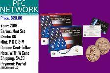 2019 P & D US Mint Uncirculated coin Set with Bonus BU W Cent
