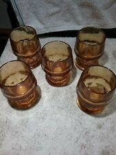 New listing Vintage Set Of 5 Amber Water/Juice Tumbler Glasses - Holds 8 Ounces, Heavy Glass