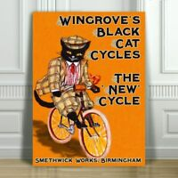 VINTAGE BICYCLE AD CANVAS ART PRINT POSTER - Wingrove's Black Cat - 16x12""