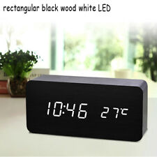 Multicolor Sound Control Wooden Square LED Alarm Clock Desktop Table Digital