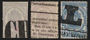 Timbres pour Journaux 1868, 3 valeurs oblitération typographique COTE 150 €
