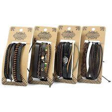 Mens Surfer Bracelet Set - Wristband Wrap Stacker -Leather, Beads , Metal