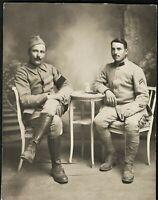 SOLDIERS WW1 FRENCH ARMY UNIFORM ANTIQUE PHOTO PC POSTCARD RPPC