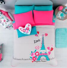NEW GIRLS TEENS GRAY AQUA PINK EIFFEL TOWER PARIS COMFORTER BEDDING TWIN