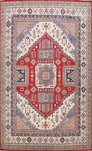 Geometric Super Kazak Oriental Area Rug Vegetable Dye Handmade Wool 9x12 Carpet