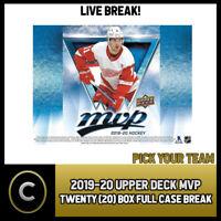 2019-20 UPPER DECK MVP HOCKEY 20 BOX (FULL CASE) BREAK #H414 - PICK YOUR TEAM -
