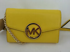 New Michael Kors MK Hudson Leather Large Phone Crossbody Bag Purse Wallet Yellow
