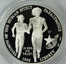 1995 USA Large Silver Proof $1-Paralympic Blind Runner