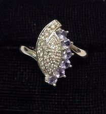 14K SOLID WHITE GOLD TANZANTIE & DIAMOND LADIES COCKTAIL RING -size 7