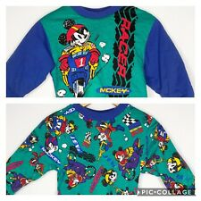 Vtg Mickey Mouse Reversible Sweatshirt 2 2T 1980s Boys Racer Mickey & Co. Puffy