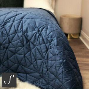 Luxury Velvet Double/King Size Navy Blue Soft Bedspread Throw Geometric Modern