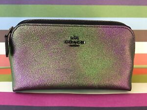 *COACH* Hologram Oil Slick Iridescent Leather Cosmetic Case 64711