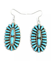 Native American sterling silver navajo Turquoise Cluster Dangle earrings