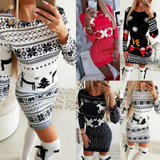 Womens Christmas Santa Mini Dress Ladies Long Sleeve Xmas Jumper Bodycon Dresses