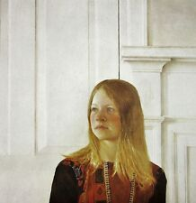 Vintage Art Andrew Wyeth Sin 1970 Autumn 1984 Auburn Hair Girl Portrait Braids