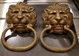 Rare Large Pair Antique Brass Lion Head Drawer Oval Pulls!! #369 Pulls # 1369