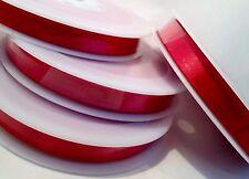 25M Rollo completo de doble cara cinta de Raso Roja Navidad, coronas, Tarjetas, Regalos