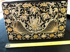 Vtg Black Velvet Clutch-Gold And Silver Metallic Designs - Gorgeous Yucca