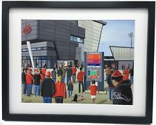 More details for salford red devils rugby high quality framed rugby league art print. approx a4