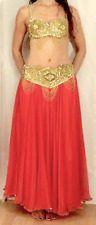 GOLD SEQUINS CHIFFON SKIRT BELLY DANCE INDIAN BOLLYWOOD BELLYDANCE UK SIZE 10-22
